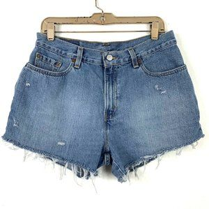 Levis 32 Cut Off Shorts Distressed Mid High Rise